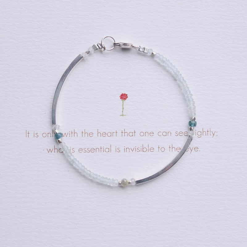 Journal (The Little Prince)-B612 Asteroid-Sterling Silver Natural Tourmaline, Diamond, Aquamarine Bracelet