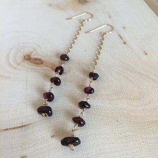 Paris Open Air Cafe - Natural Garnet Long Earrings
