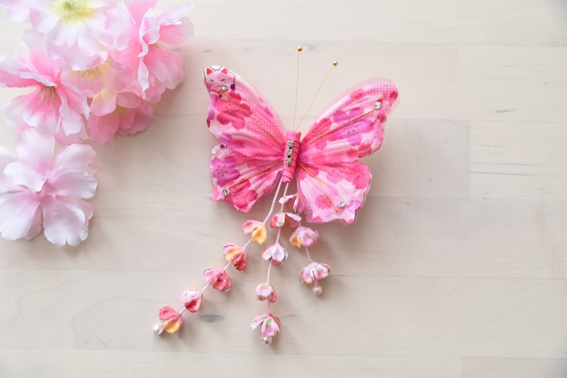 Angel Nina hand-made Japanese-style fringed fabric pink butterfly hairpin