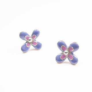 Flora Enameling Earrings enamel flower earrings (pink and purple)