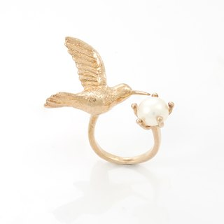 Humming Bird Ring - pink gold