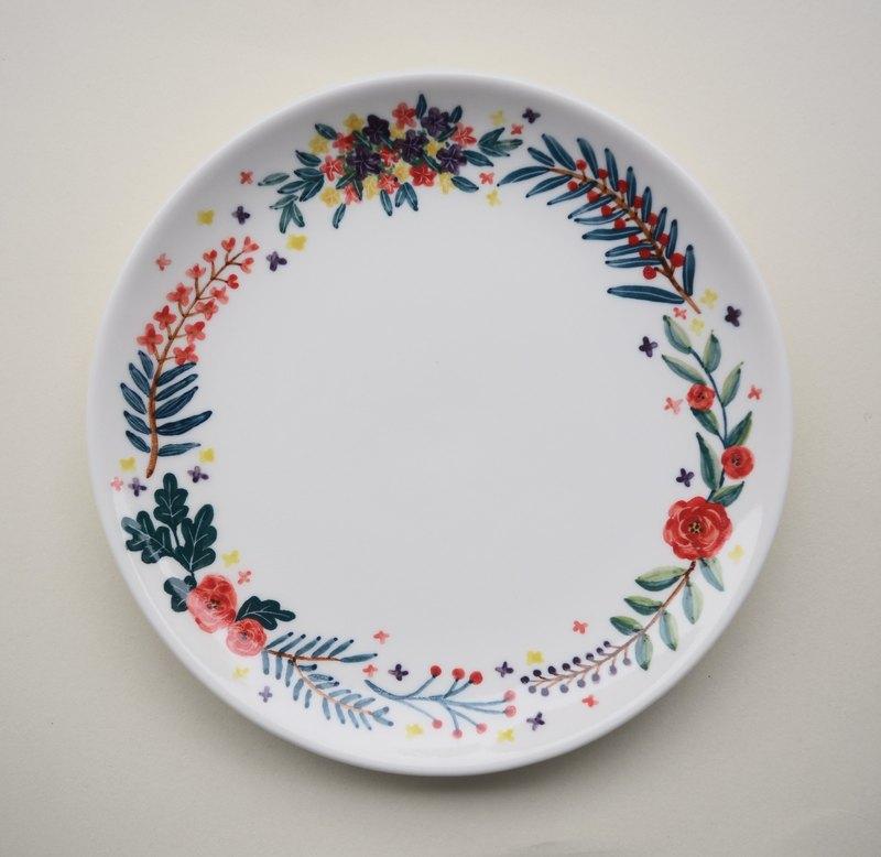 手繪7吋蛋糕盤 玫瑰花園
