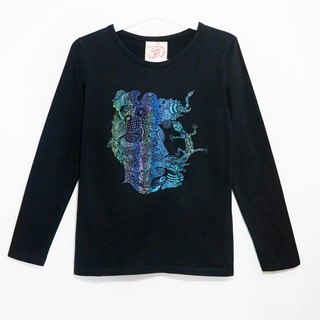 Feel forest wind cotton long-sleeved shirt / soul travel and memory map series face (black)