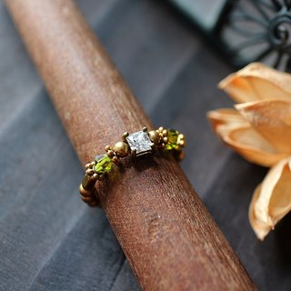 EF golden years NO.187 zirconium graphite green crystal elegant brass ring tail ring foot ring