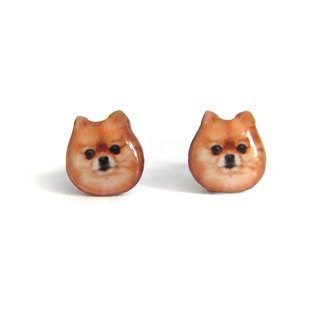 Brown squirrel dog Pomeranian earrings A025ER-D05