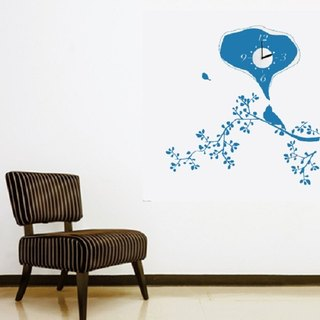 / Bird on Twig / Wall Sticker Clock / ECO-Material