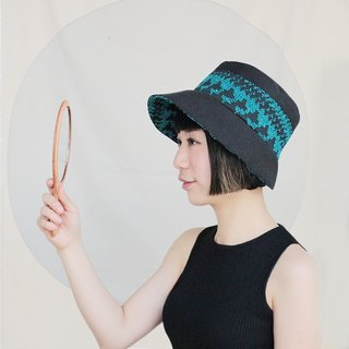 JOJA│ blue, green and black jacquard x French country ladies custom hat