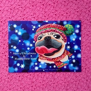 Postcard-Merry Christmas & Happy New Year Pug-01