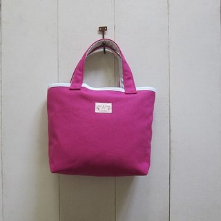 Macaron Collection: Canvas Tote - Small size (Magnet Closure) Magenta + White