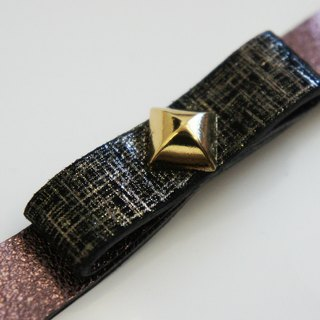 Elegant silver checkered black suede bow box bright purple leather rivet bracelet gold hand-made leather PdB New York