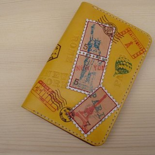 ISSIS - Traveling together Complete leather travel postmark series passport cover handmade