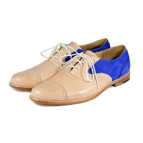 Sweet Villians M1093B 手工真皮雕花雙色牛津鞋 粉膚寶藍