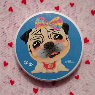 Pocket Mirror-Pug wears a bow headband