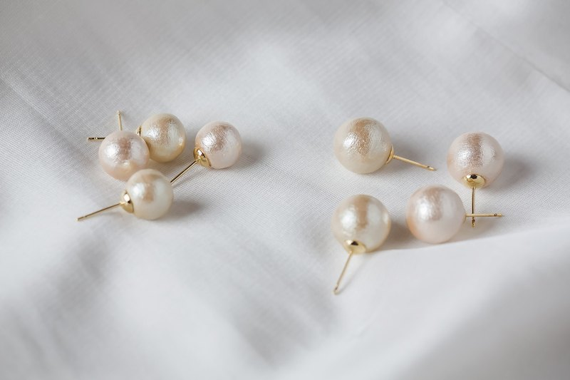 Pink cotton pearl earrings -925 silver