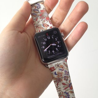 Apple Watch  Series 1, Series 2 and Series 3  - Flowers Pattern Style Printed on Genuine Leather for Apple Watch Strap Band 38 / 42 mm - 26