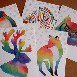 Watercolor animal illustration postcard set
