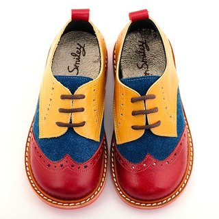 Beven Smiley. MIT children full leather Oxford shoes (carved models - mixed colors) handmade shoes