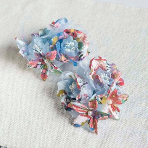 [MITHX] cherry blessing, flower feast, a small side clip brooch, styling hair accessories - Blue