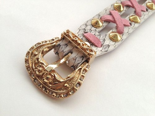 Pink leather braided bright gold buckle carved white python leather bracelet