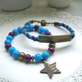 One Direction Bracelet - Turkey Blue + Deep Purple - 2 Bars