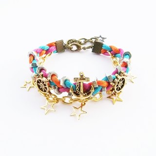 Nautical red blue orange braided bracelet with golden chain and stars
