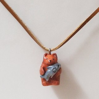 Bear and his fish handmade necklace