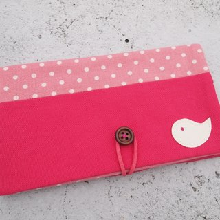 Pink Bird passbook bag / wallet long clip