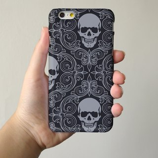 Black Skull  3D Full Wrap Phone Case, available for  iPhone 7, iPhone 7 Plus, iPhone 6s, iPhone 6s Plus, iPhone 5/5s, iPhone 5c, iPhone 4/4s, Samsung Galaxy S7, S7 Edge, S6 Edge Plus, S6, S6 Edge, S5 S4 S3  Samsung Galaxy Note 5, Note 4, Note 3,  Note 2