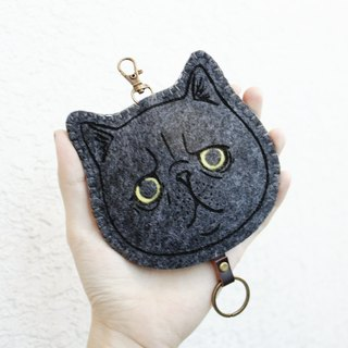 Cat - Cats Series - Wool Key Holder Key Sets / Wool Key Holder &lt; <Gray cat扁臉貓-藍灰貓> &gt; Wool felt gogoro key holder