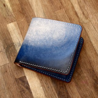 Handmade pot two-fold cross-section of deep space blue hand-dyed hand-tanned leather leather wallet short wallet fiscal minimalism