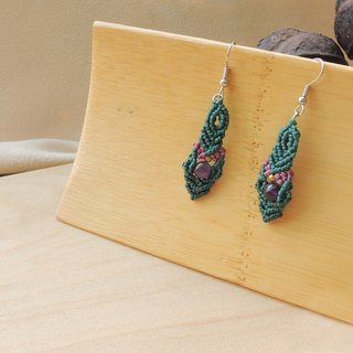 Puzzle / natural stone x Brazilian wax line silk earrings