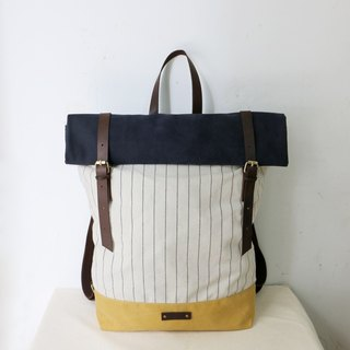 Mingen Handiwork original hand stripe hit color art casual backpack shoulder bag backpack