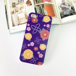 香港原創設計 日本紫色和服花紋圖案 iPhone X,  iPhone 8,  iPhone 8 Plus, iPhone 7, iPhone 7 Plus, iphone 6/6S , iphone 6/6S PLUS, Samsung Galaxy Note 7 透明手機殼