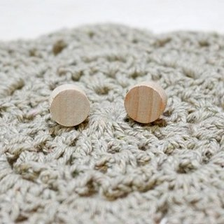 Wooden round pin earrings * *