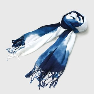Blue dyed cotton towel (long fringe)