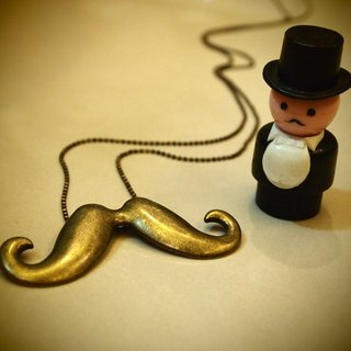 Mr. Alice Beard Mr. Moustache Necklace bronze necklace of gold (limited edition)