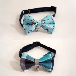Miya ko.] Handmade cloth grocery cats and dogs tie / tweeted / bow / handsome plaid / vintage style / pet collars ((((I want to bring the two together))))