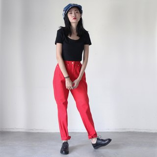 A ROOM MODEL - VINTAGE, DP-0237 VERSACE red plain hollow flower retro pants with Shimokitazawa