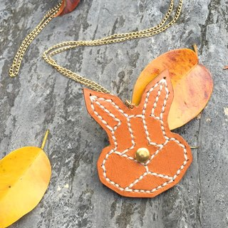 Forests Series - hand-stitched leather necklace rabbit