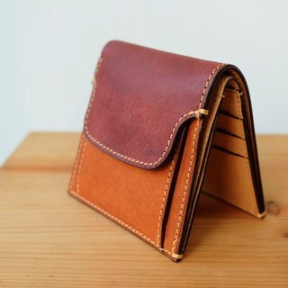 isni [Card and Coins Wallet] Pueblo-red brown/retro-yellow design/handmade leather