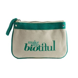 France my biotiful bag Organic Cotton Small Flat Pouch-Green
