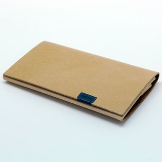 Japanese Handmade - Shosa Vegetable Tanned Leather Business Card Holder / Card Holder - Calfskin / Beige