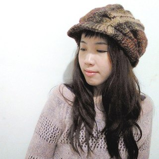 Araignee Design*hand-made wool cap - News Boy retro weave newspaper hat*brown beige brown gradient pattern
