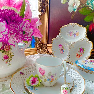 ♥ ♥ Annie crazy Antiquities Germany pink roses made of bone china flowers flower cup, coffee cups two groups - a romantic birthday gift tea