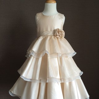 Gold Taffeta Layered Dress