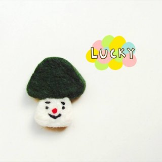 Mew in Wonderland ─ wool felt melancholy green head mushroom mushroom mushroom pins