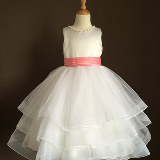 White Tulle Ball Gown with Beaded Neckline and Pink Bow