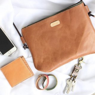 Make Your Choicesss Italian brown zippered carry bag