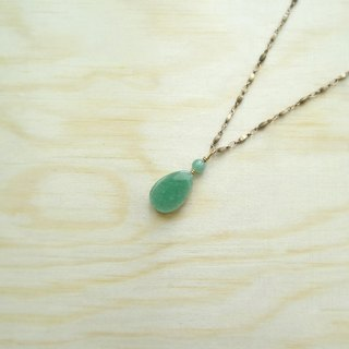 Downton-Spring。Green Aventurine Flat Teardrop Antique Bronze Long Necklace
