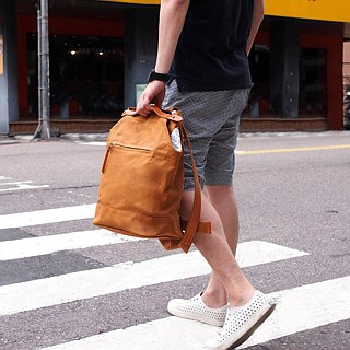 Japan simple leather trim back splashing backpack Made in Japan by SUOLO